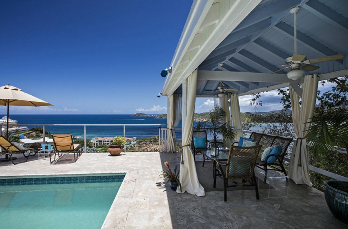 Luxurious poolside relaxation awaits at Blue Canopy Villa in St. Martin