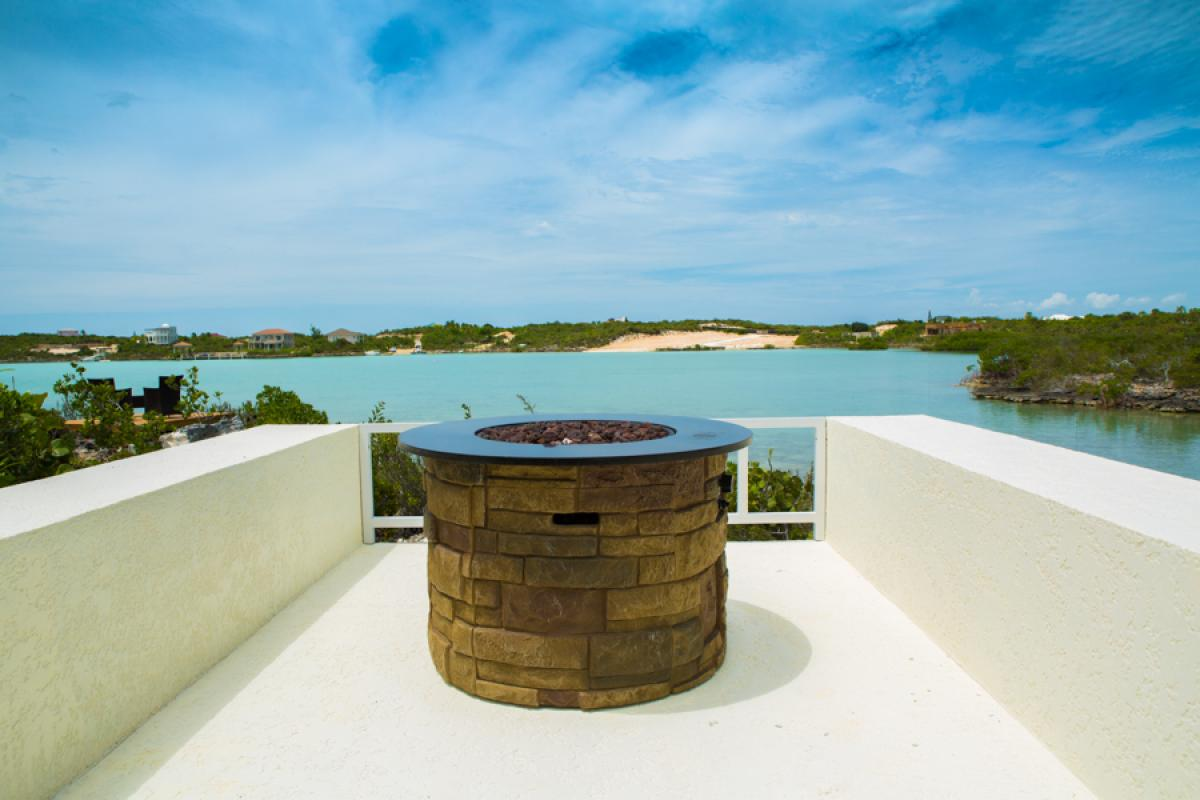 Firepit overlooking the water