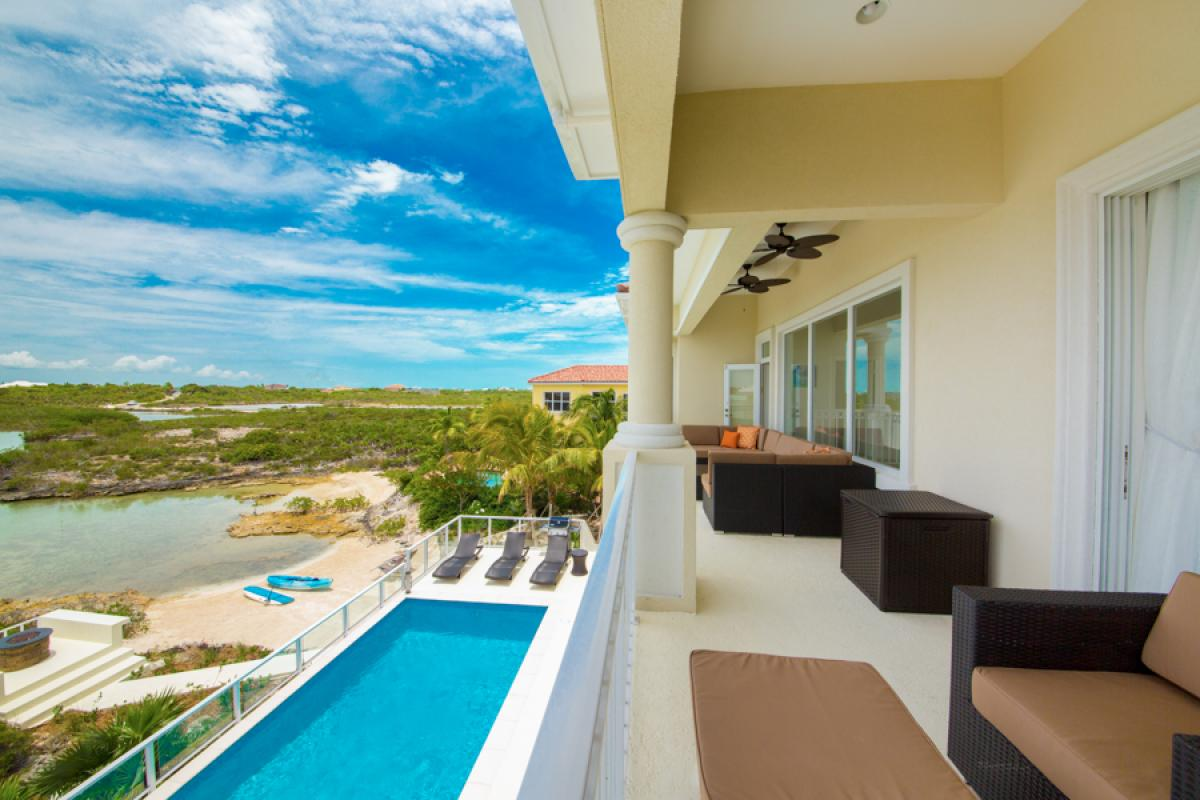 Balcony views of the pool and water