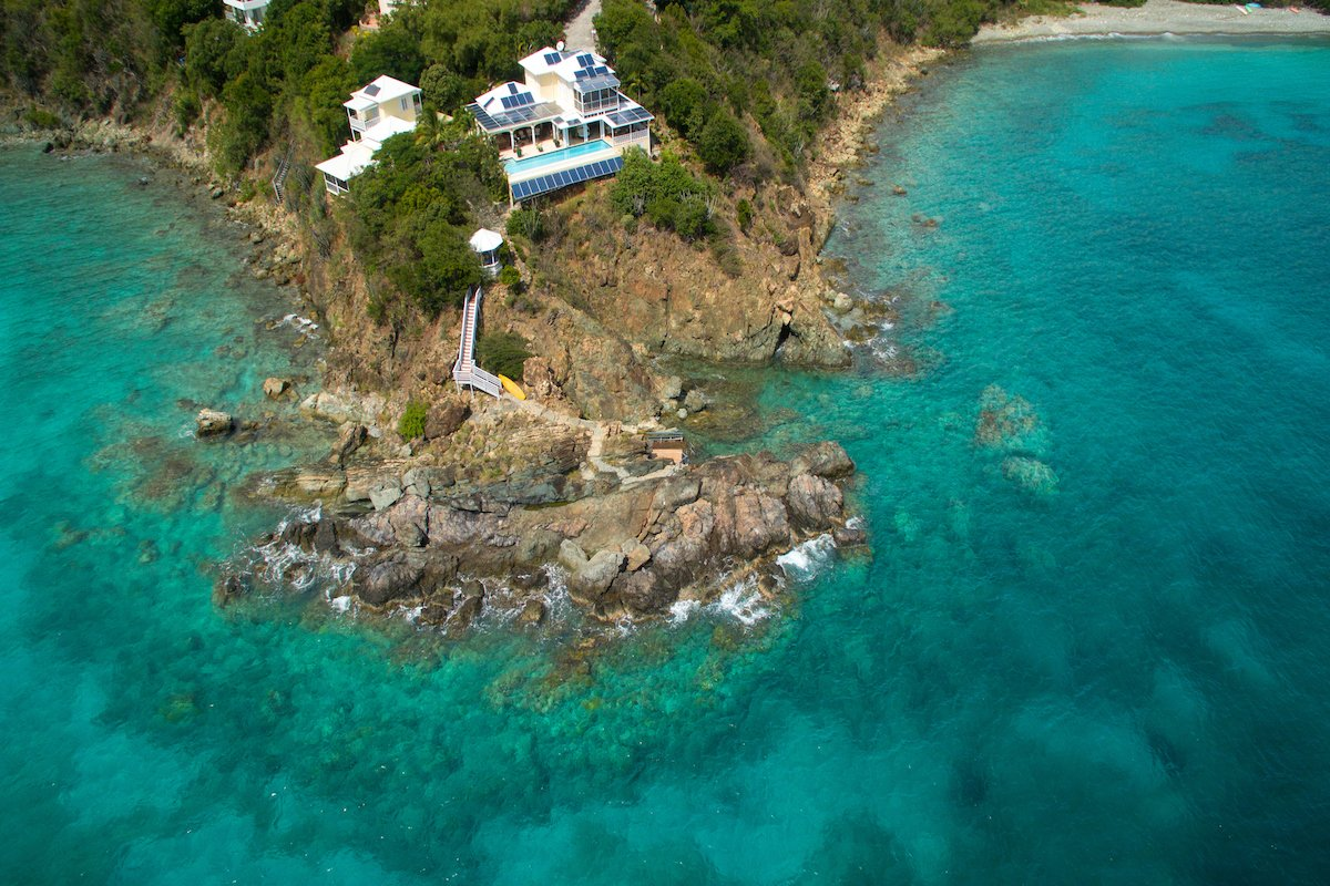 Aerial view of the villa on Rendezvous Bay