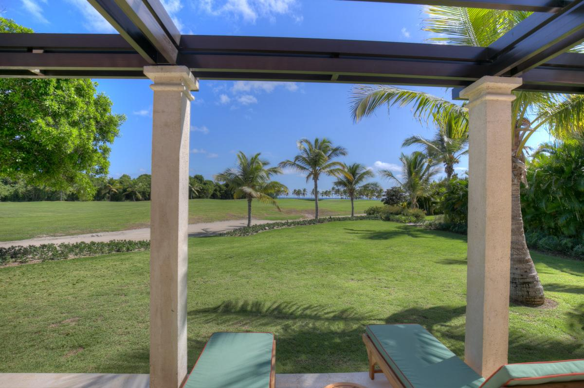 Back patio with golf course views Arrecife 24