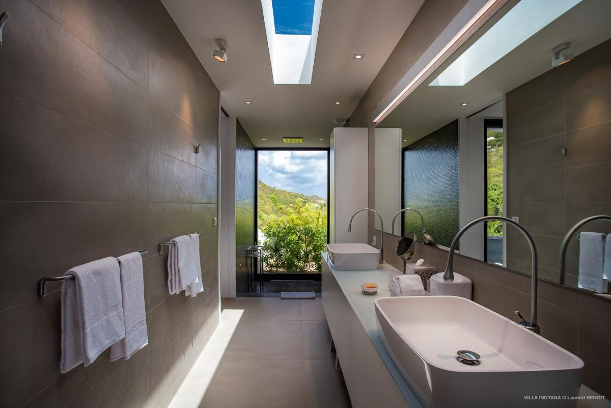 Double sink bathroom with garden view