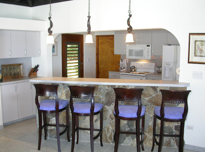 Kitchen and high bar.