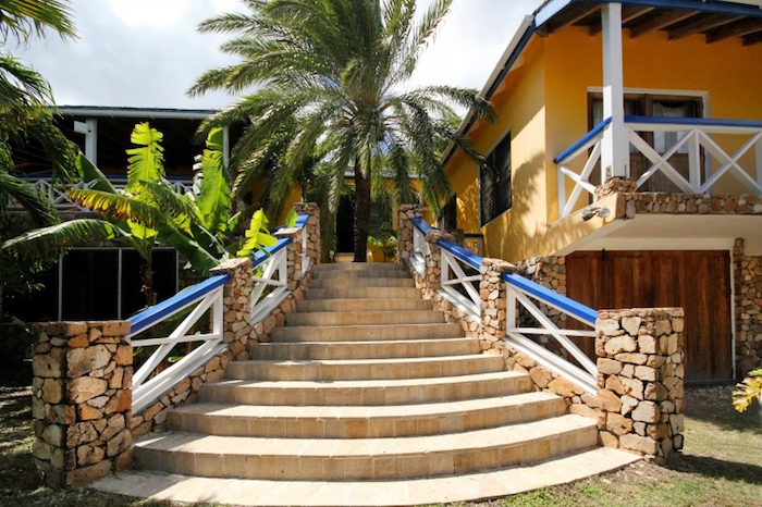 Stairway and entry to the villa.