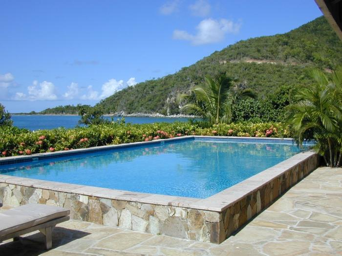 The crystal clear pool and island views!