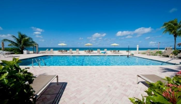 Ocean views from the community pool at George Town Villas!