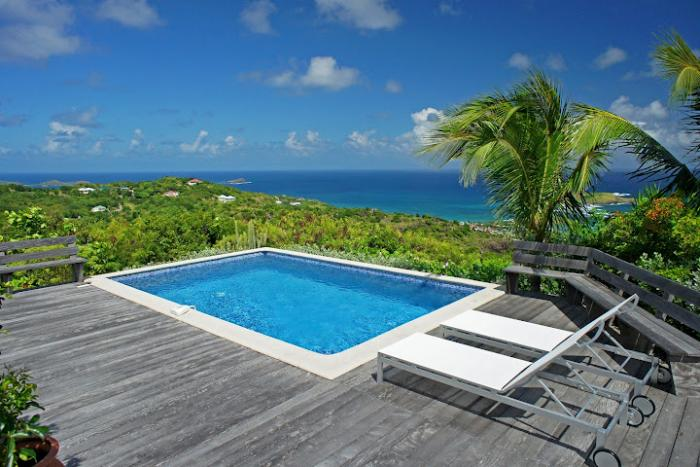 Ocean views from the pool at La Mouina villa!