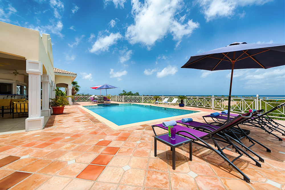 Pool deck offers shade and plenty of Caribbean sun
