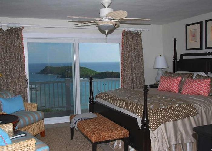 Bedroom with island and ocean views.