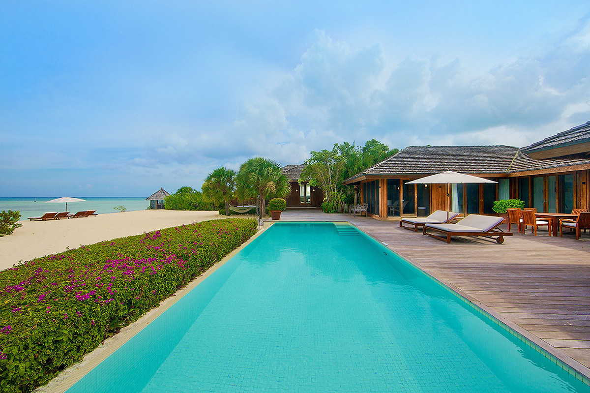 Spectacular beachfront pool at Dhyani House