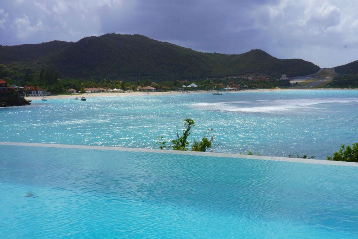 Views of St. Barts Airport as well as other famous local land marks