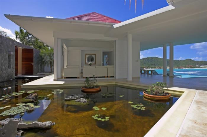 Living room opening to the lilly pond.