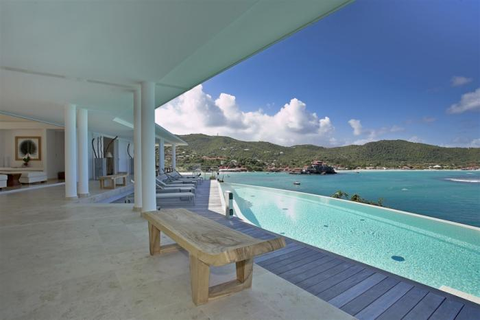 Reef Point villa pool overlooking the ocean!