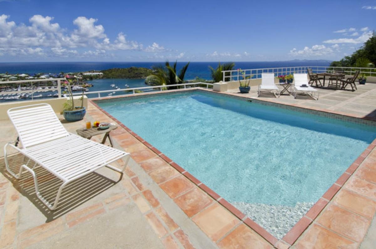 Fabulous views of the Caribbean from the pool at Angelina Villa