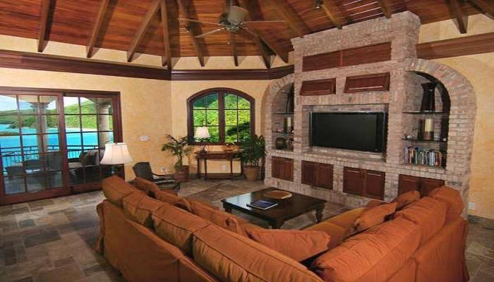 "Spacious great room with 52"" HDTV"
