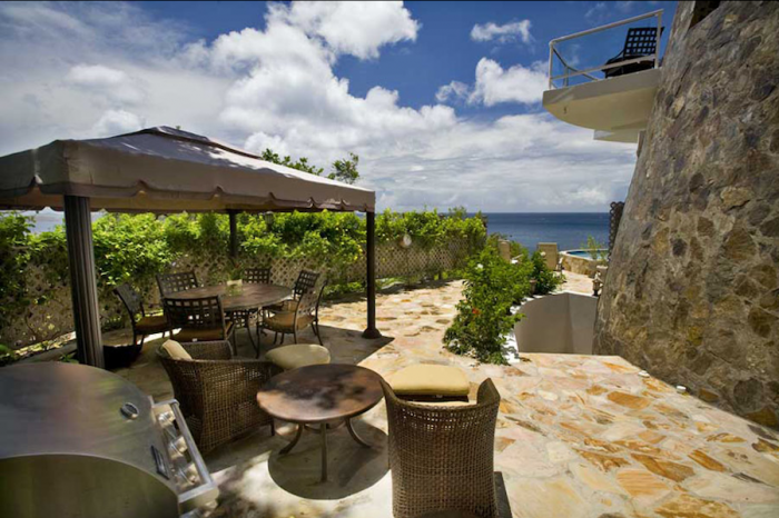 Patio with view of the ocean.