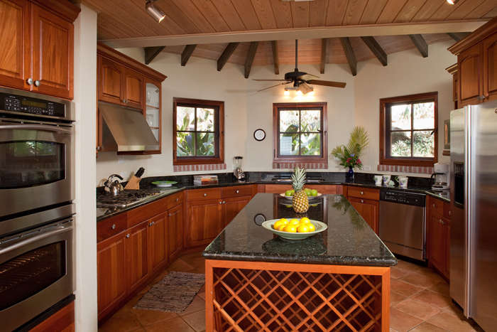 Gourmet kitchen with double ovens.