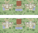 Floor plan of the two, four-bedroom villas + the pavilion at The Sanctuary.