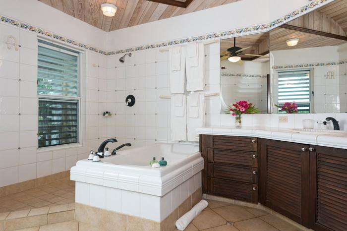 En-suite bathroom with bathtub and open shower.