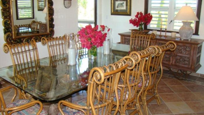 Indoor dining table with seating for eight.