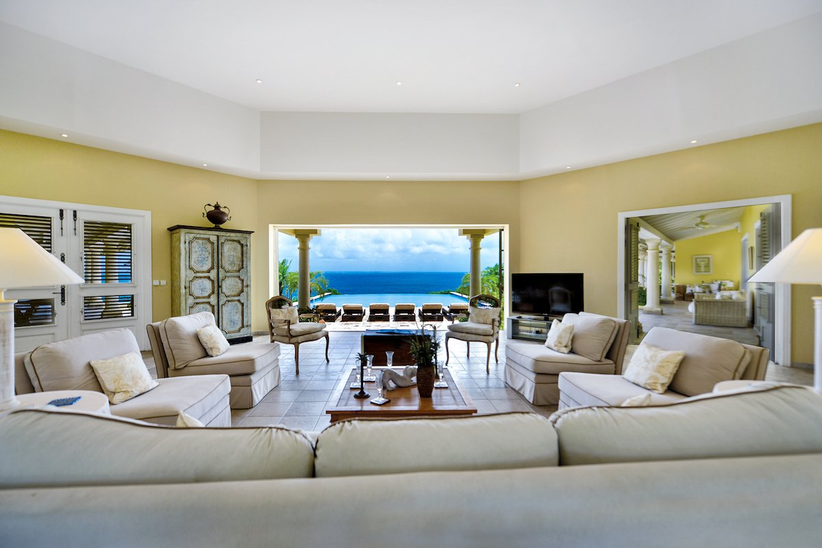 Open living area with ocean views