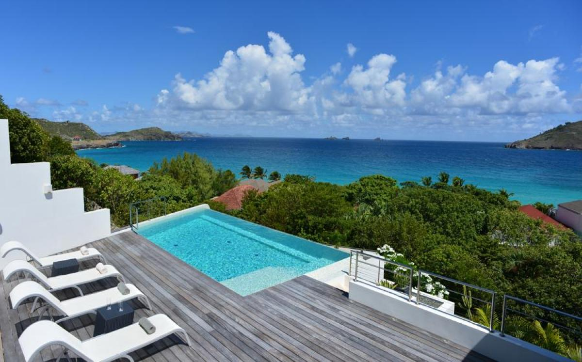 From the hillside in Flammands viewing the Caribbean