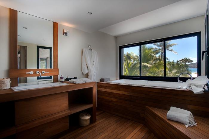 Large soaking tub with ocean views.