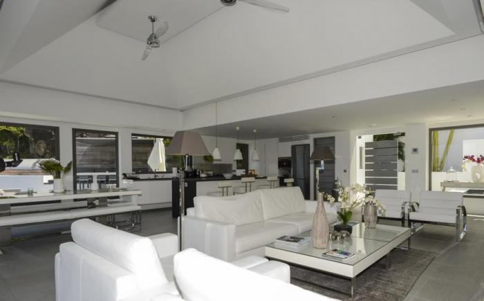 Living, dining and kitchen areas.