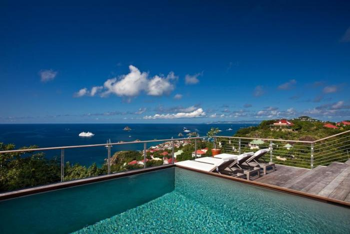 The stunning ocean views from the poolside at Seven Islands villa!