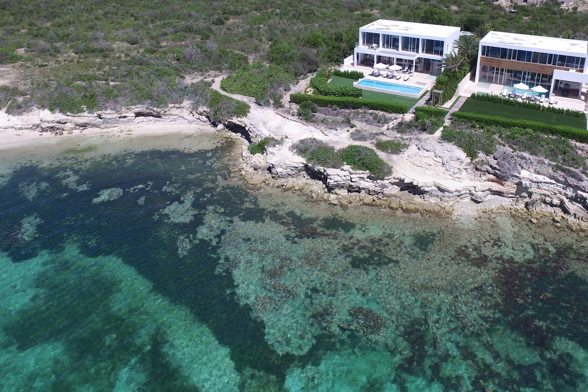 Aerial view of the Caribbean sitting below the villas