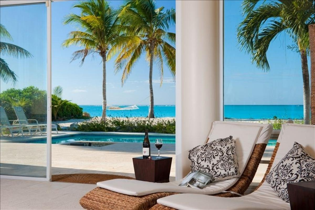 Poolside views of the Caribbean from Villa del Sol