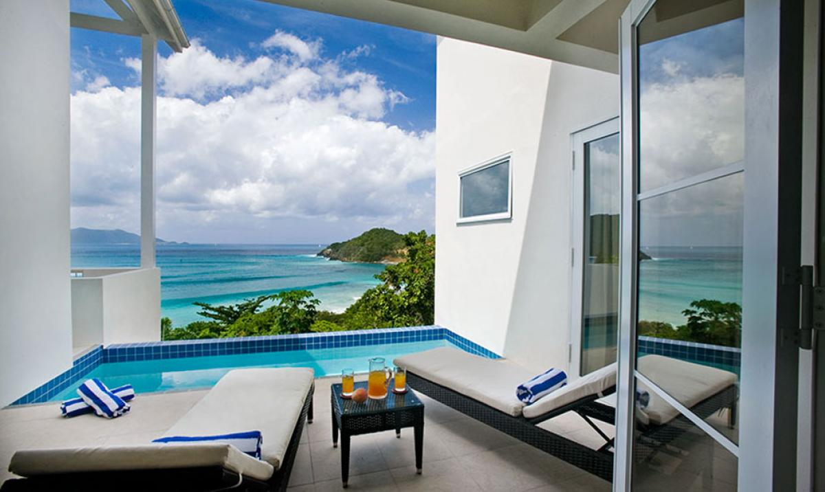 Stunning caribbean views from the private plunge pool at Refuge