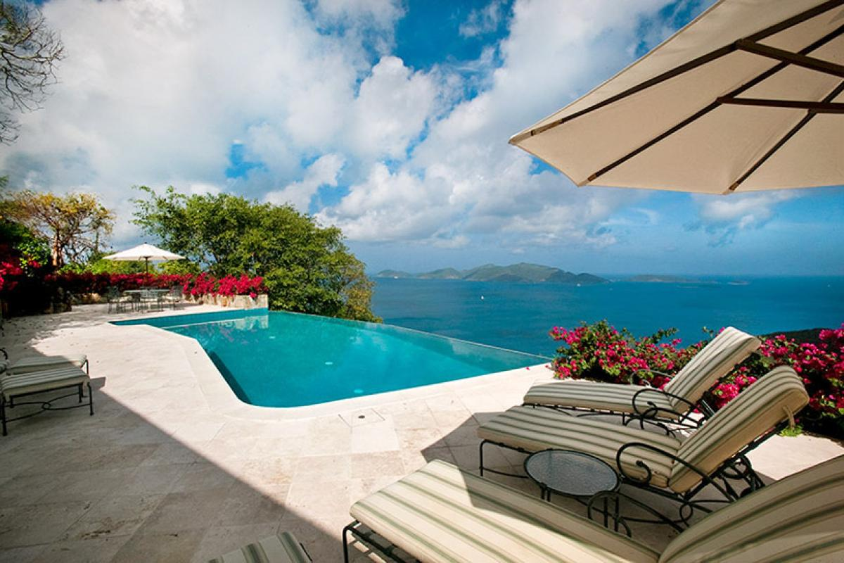 The cliffside pool with soaring ocean views at St. Bernard's Hill house