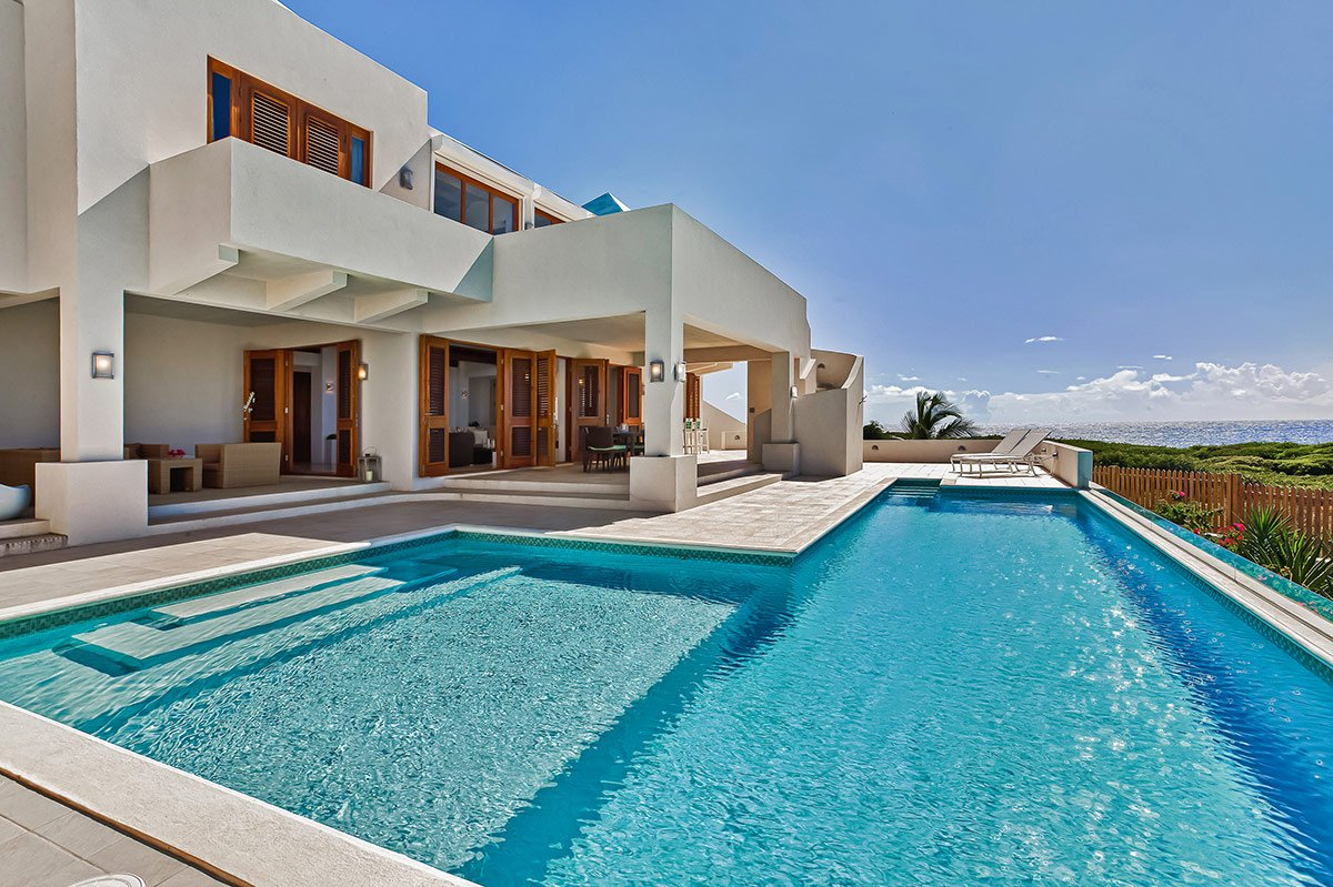 Amazing views of the Caribbean from the pool deck of White Cedars Villa