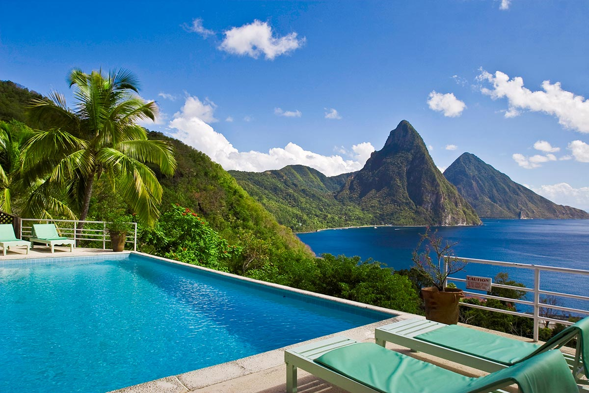 The private hillside pool at Mango Point offers amazing views of the Caribbean
