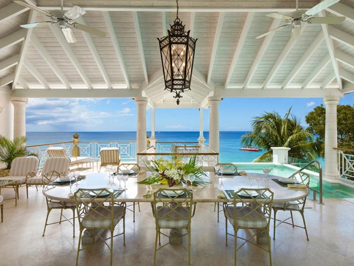 Outdoor dining with ocean views.