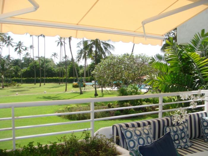 View to the pool and gardens from Glitter Bay Sunset villa!