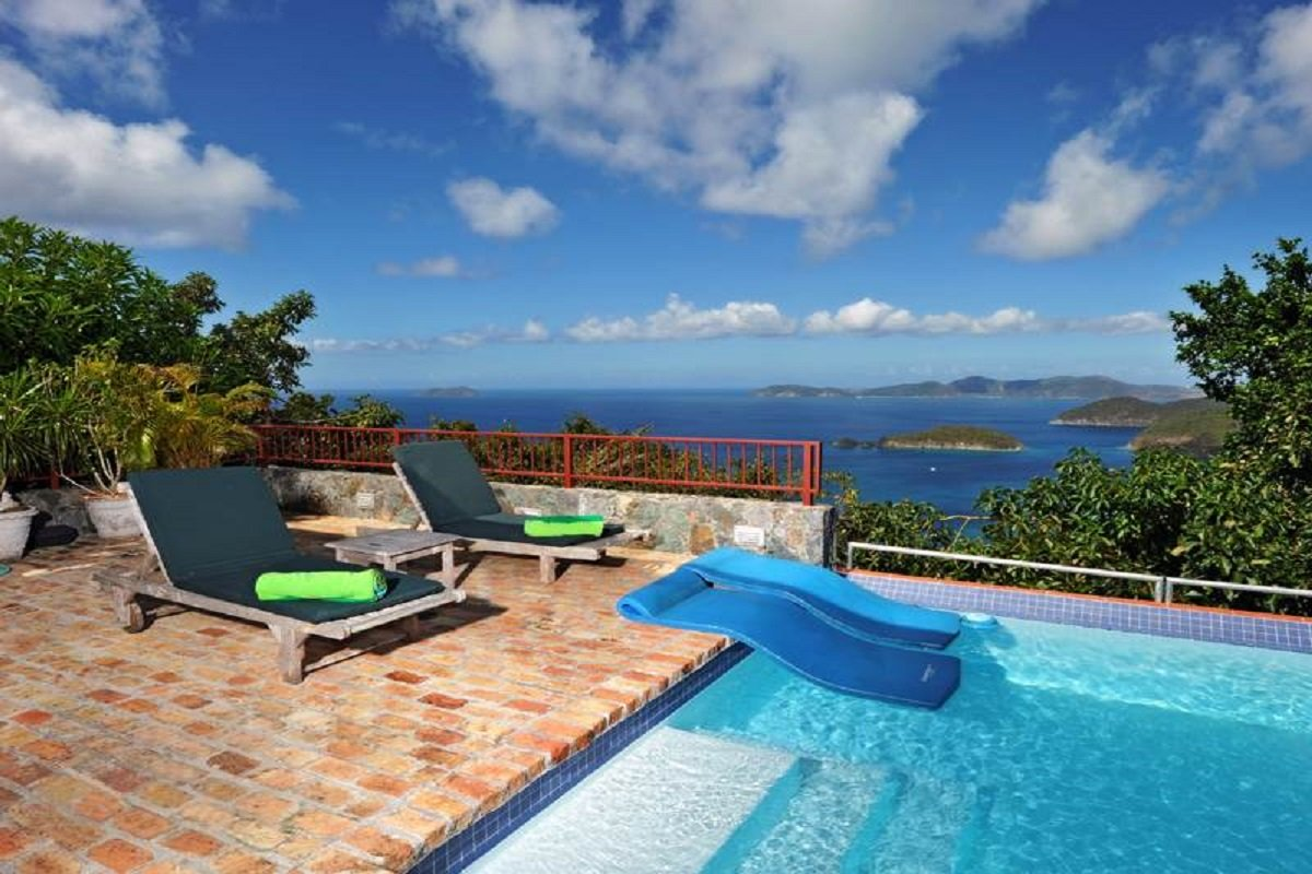 Views of the Caribbean from the pool and deck at Mango Bay Villa