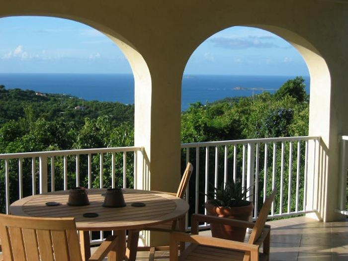 View to the ocean from the balcony dining area.