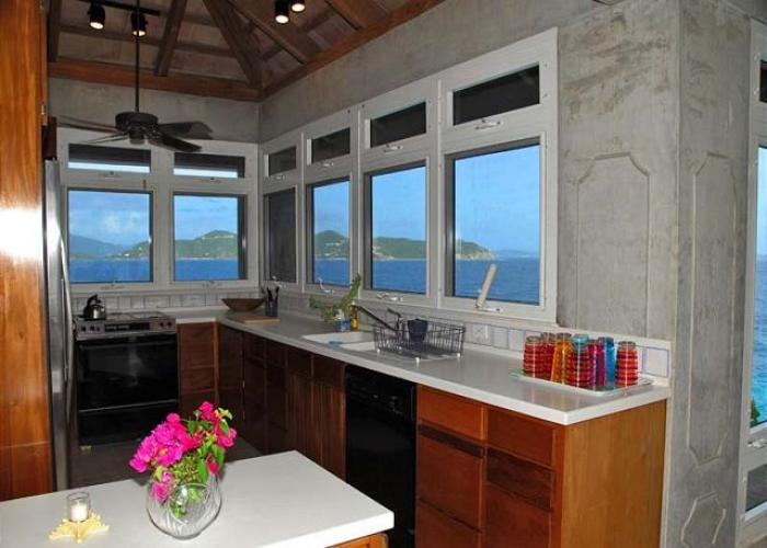 Views of the ocean from the villa kitchen.