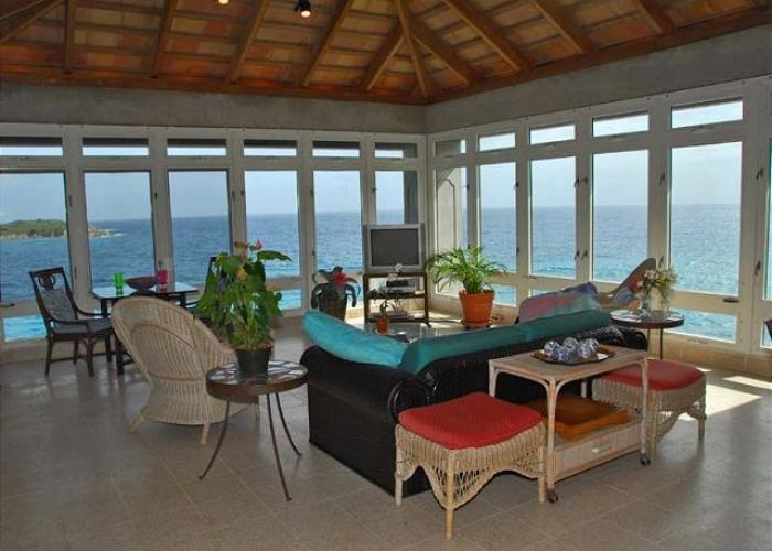 Panoramic ocean views from the living room.