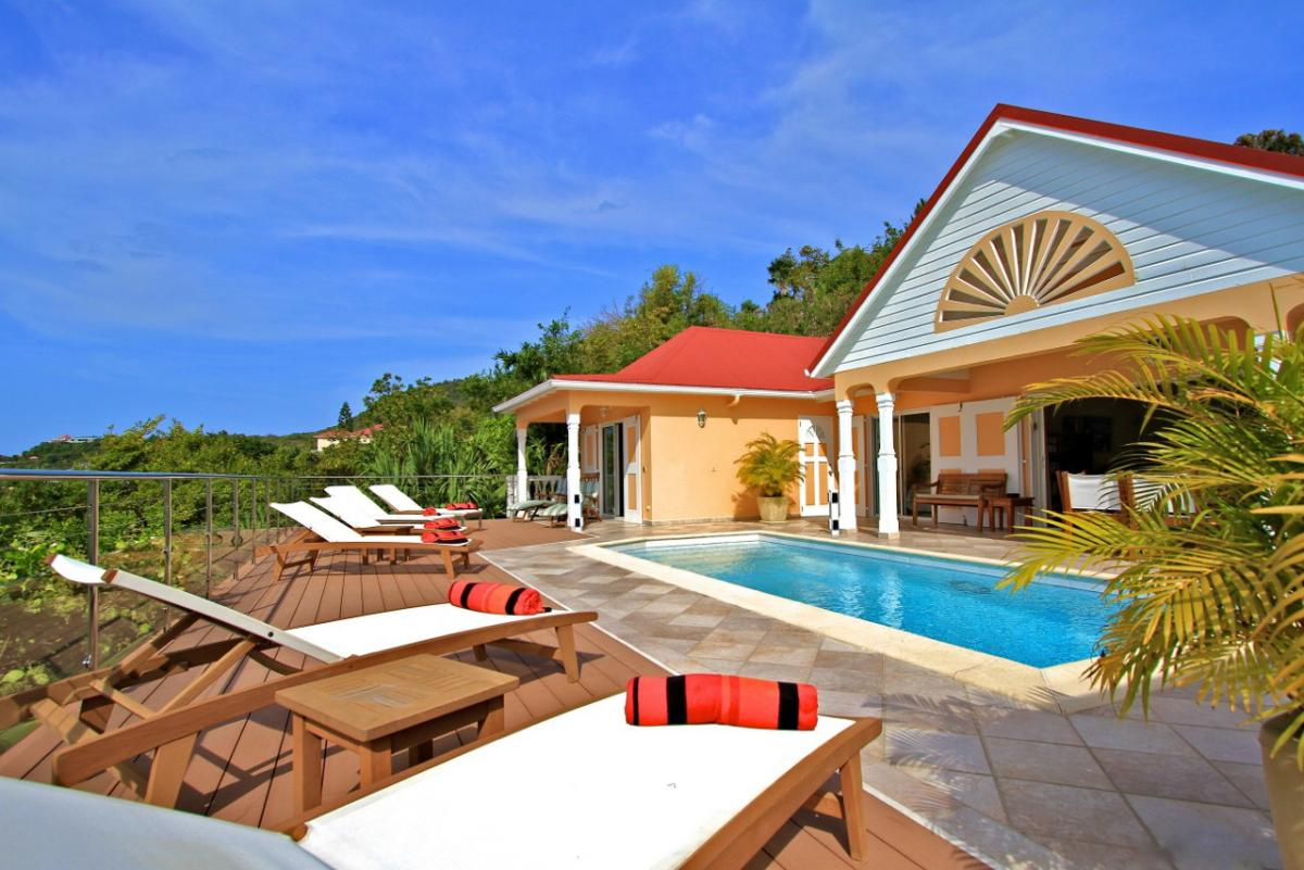 Les Acajous Villa has a beautiful pool and sun deck