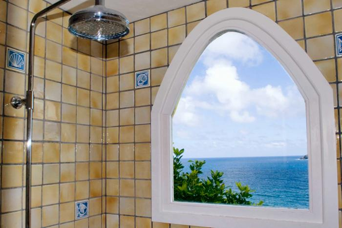 Shower with views over the ocean.