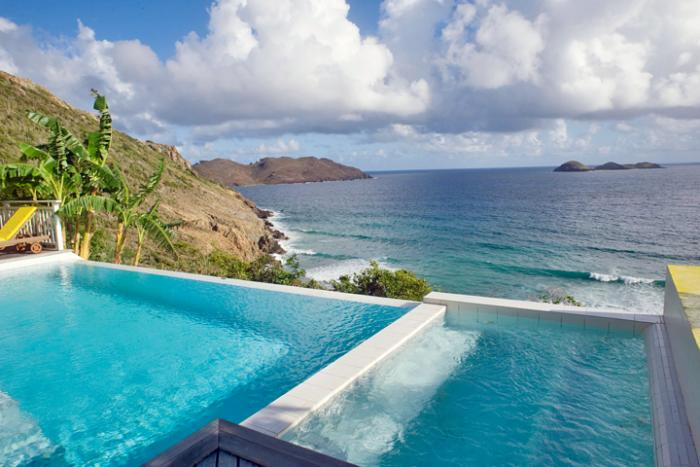 Pool to ocean views from Arc en Ciel villa!