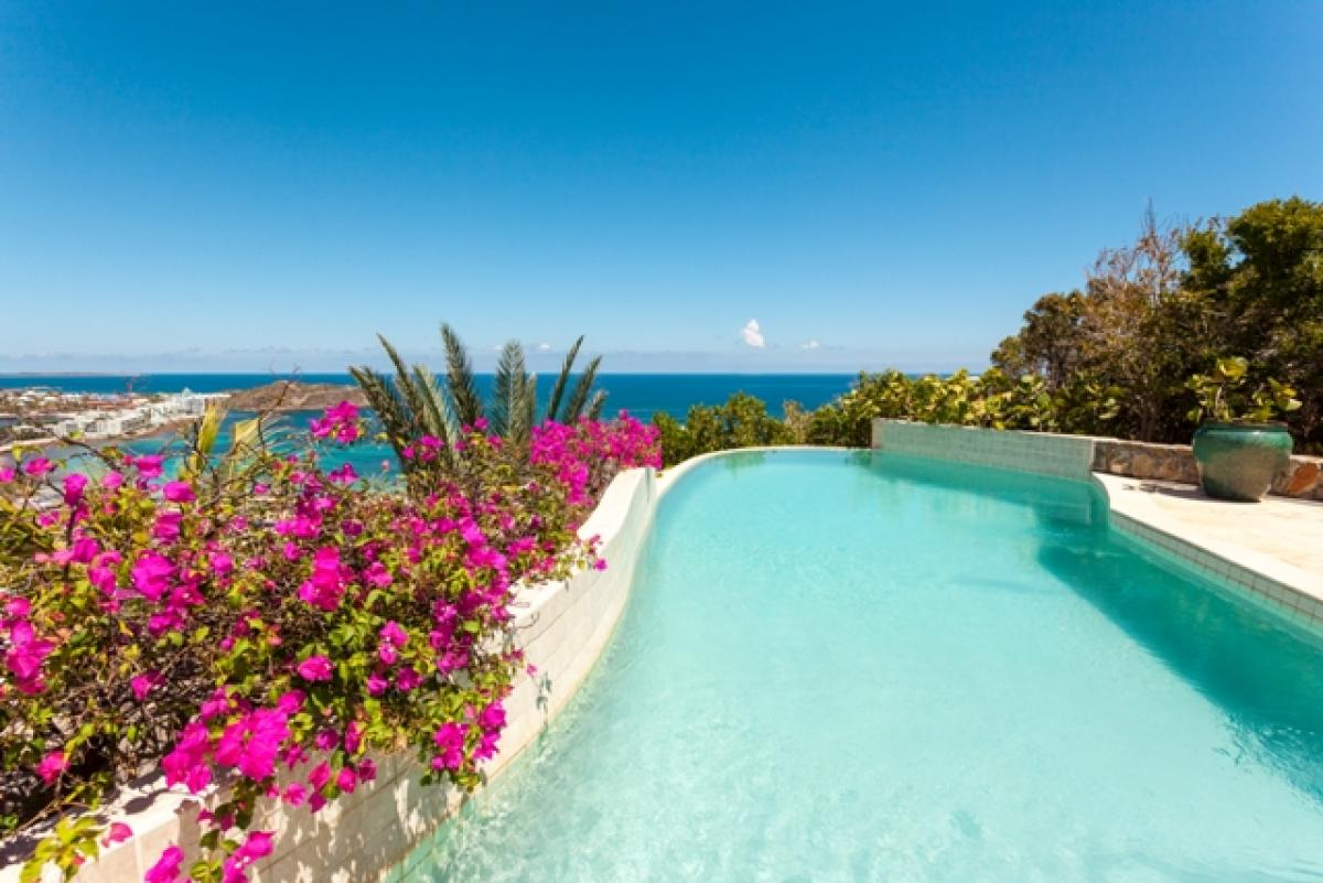 The pool at Bougainvillea Villa has beautiful views of the Caribbean