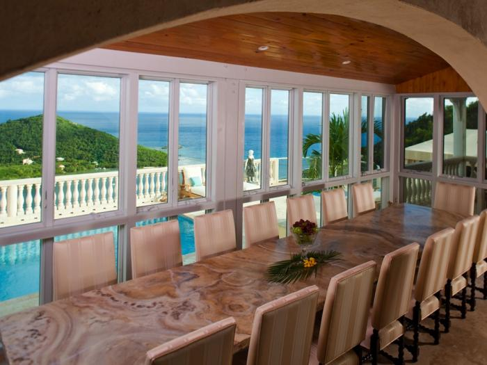 Large indoor dining table (seats up to 16) with stunning ocean views.
