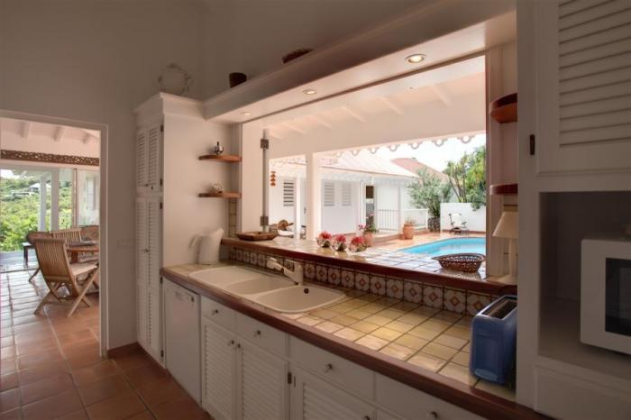 Views of the pool from the kitchen.