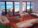 The Beach House living room with ocean views.