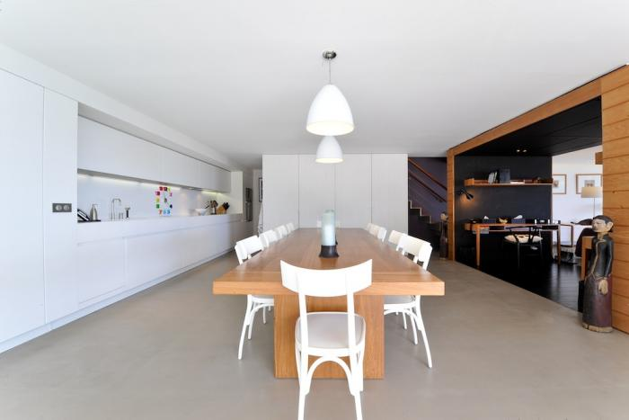 Dining, kitchen and living area.