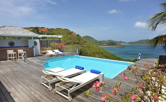 Deck pool and ocean view from L'Abri Cotier Villa!